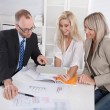 Business team of man and woman sitting around desk in a meeting — Stock Photo #69318873