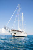 Luxury big private yacht with sails. — Stock Photo