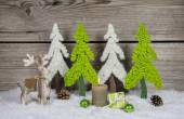 Country style wooden christmas decoration in apple green and whi — Stock Photo