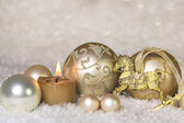 Festive classical christmas decoration in white and gold with ho — Stock Photo