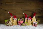 Red, green, yellow and brown christmas background with presents, — Stock Photo