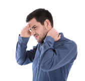 Isolated man in blue shirt with pains in the neck. — Stock Photo