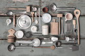 Old miniatures of kitchen equipment for decoration. — Stock Photo