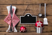Menu card in red white checked colors with cutlery for a christm — Stock Photo
