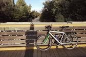 Bicicleta en puente — Foto de Stock
