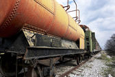 Abandoned fuel and oil train — Stock Photo