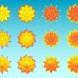 Flower sun stylized ethnic icons set — Stock Vector #59300911