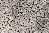 Dry cracked ground grayscale sepia toned photo — Stock Photo