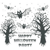 Happy Halloween party card with evil trees and bats — Stock Vector