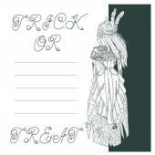 Halloween card design with beautifull skelton — Stock Vector