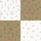 Set of seamless patterns with trees. — Stock Vector