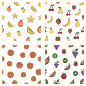 Set of fruits patterns — Stock Vector