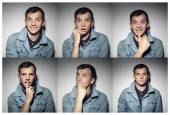 Collage of young man with various expressions — Stock Photo