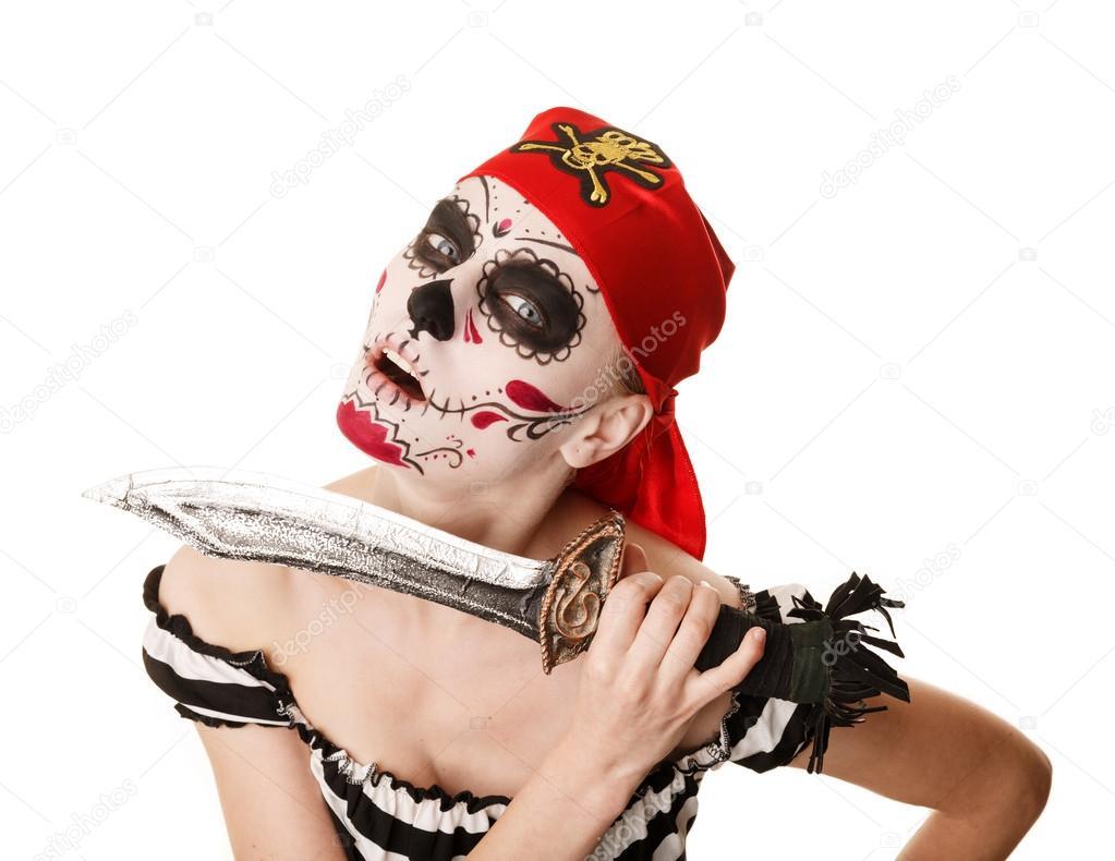 Imagenes De Maquillaje Para Descargar: Pirata Mujer Con Una Espada. Disfraces Para Halloween