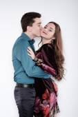 Valentine Couple. Portrait of Smiling Beauty Girl and her Handso — Stock fotografie