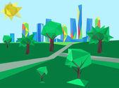 Polygonal cityscape park — Vector de stock