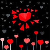 Cartolina del cuore di sole — Vettoriale Stock