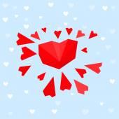 Kalp güneş kartpostal — Stok Vektör