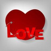 Pinned hearts — Stock Vector