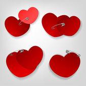 Pinned hearts set — Stock Vector