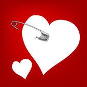 Przypiętych serca — Wektor stockowy