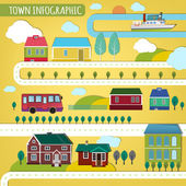 02 town infographics — Stock Vector