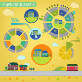 10 town infographics — Stock Vector