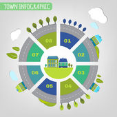 11 town infographics — Stock Vector