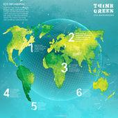 グローブ水彩ベクトル概念 — ストックベクタ