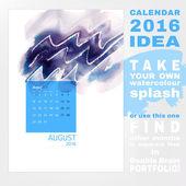 Calendar 2016 watercolor — Stockvector