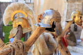 Roman empire helmets — Stock Photo