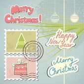 Christmas stamps and decorations — Vetorial Stock