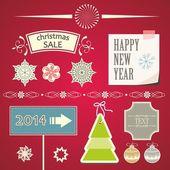 Elementos decorativos y adornos de navidad. — Vector de stock