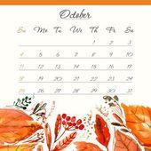 Calendar 2015, october — Vettoriale Stock