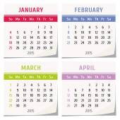 2015 calendar design - set of four months (january, february, march, april) — Stock Vector