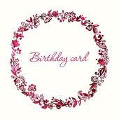 Carte d'anniversaire. Cadre floral. — Vecteur