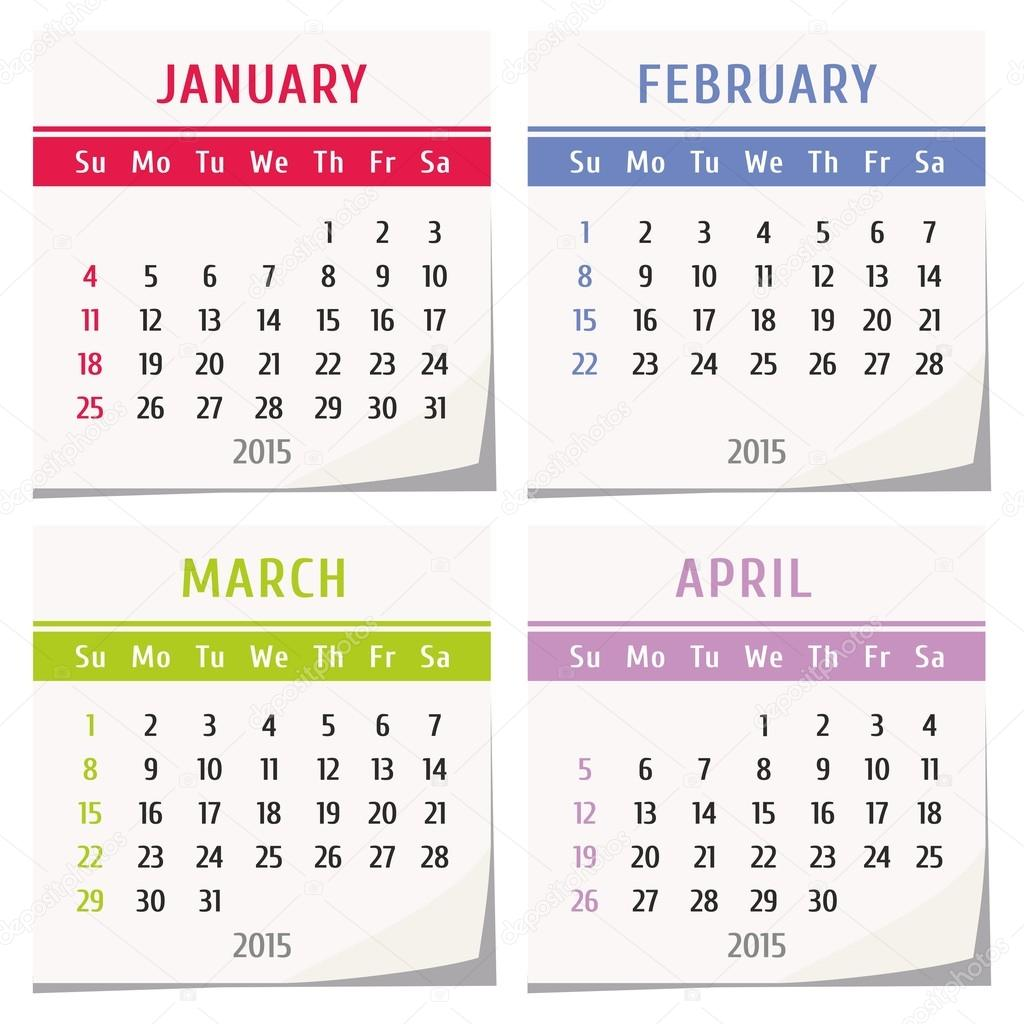 Calendar January April : Calendar design set of four months january