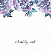 Watercolor floral  Birthday card. — Stock Vector