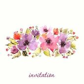 Watercolor floral invitation. — Vetor de Stock