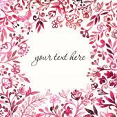 Watercolor red  floral frame. — Vector de stock