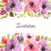 Invitation floral card. — Stock Vector