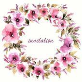 Floral frame Invitation. — Vettoriale Stock