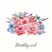 Birthday card with roses bouquet. — Stock Vector