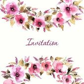 Invitation floral card. — Stock Vector