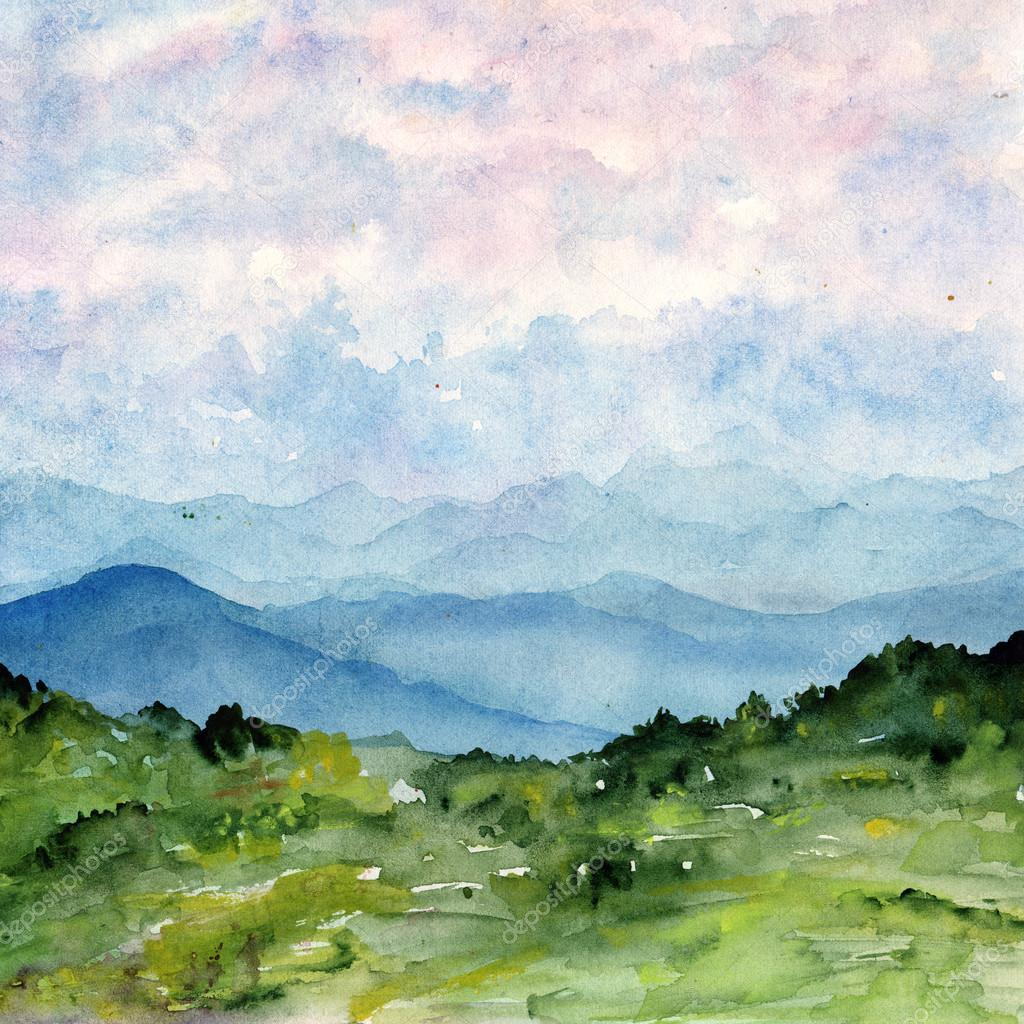 Watercolor painting landscape with - 175.6KB