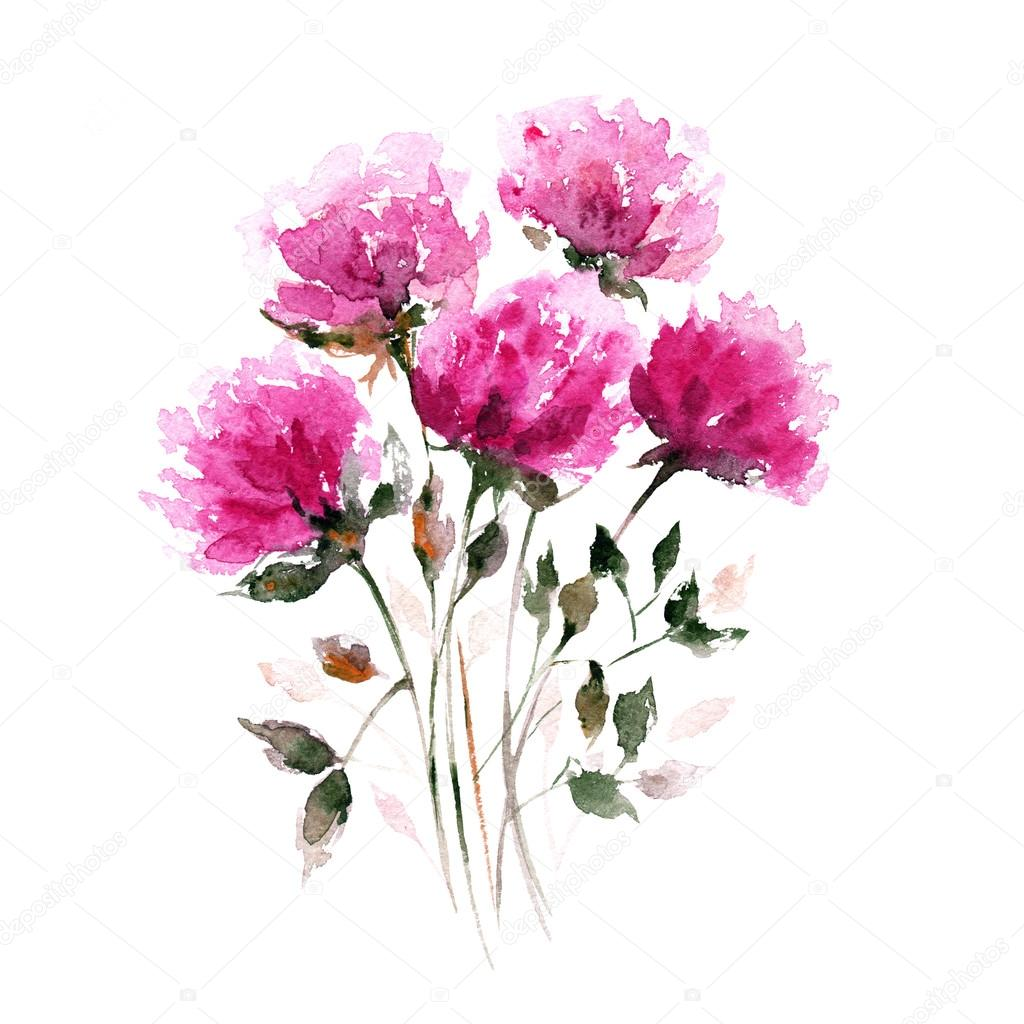 Bouquet de fleurs aquarelle photographie oaurea 89747352 for Aquarelle fleurs