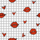 Red lips and hearts seamless pattern — Stock Vector