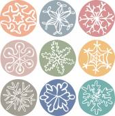 Set of cute drawn by hand snowflakes — Stock Vector