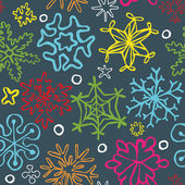 Seamless pattern of drawn by hand snowflakes — Stock Vector
