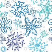 Seamless pattern of drawn by hand snowflakes — Wektor stockowy